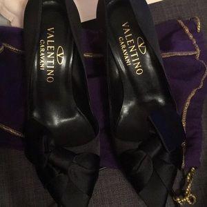 Valentino black satin kitten heels 36.5